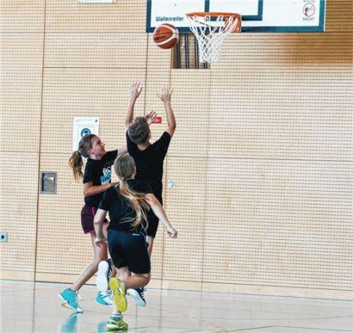 In der Schulturnhalle in Rott herrscht voller Betrieb. Der Basketball-Nachwuchs trainiert fleißig.Foto re