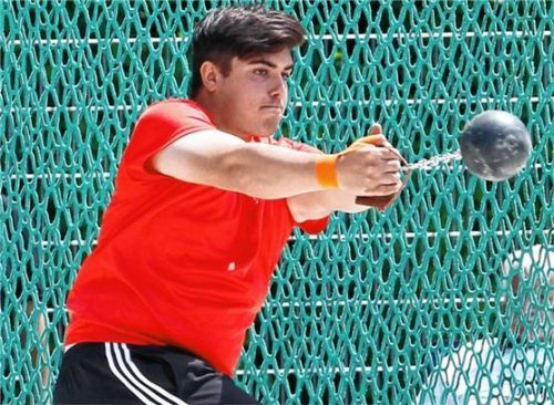 Kilian Drisga wurde bayerischer Meister der Jugend A im Dreikampf, Gewichtwurf und Steinstoßen.Foto Ludwig Stuffer