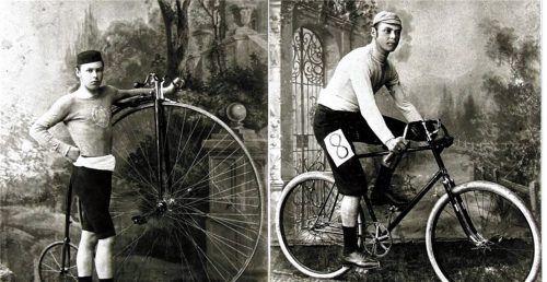 Max Reheis in jungen Jahren mit Hochrad (circa 1885) und als jungen Rennfahrer auf dem Niederrad (um 1890). StadtArchiv Wasserburg, Bildarchiv, IIIA15-164.