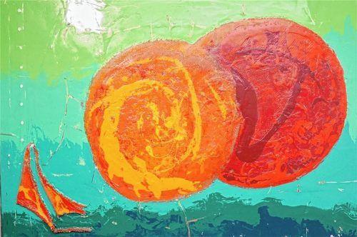 Sonnenfinsternis (Acryl, Textil, Perlmutt).Fotos Kirchner