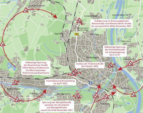 Unsere Karte zeigt die wichtigsten Baustellen in der Stadt Rosenheim und die Staufallen auf den Ausweichrouten.Klinger