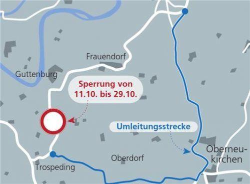 Weil südlich von Guttenburg die Staatsstraße gesperrt ist, müssen Autofahrer ausweichen. Klinger